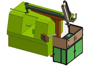 数控车床自动上下料机行走式机械手K599 自动化设备3D图纸 RBAE2009