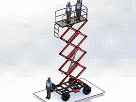 剪叉式升降平台车 gtak1003 通用格式 3D图纸 三维模型